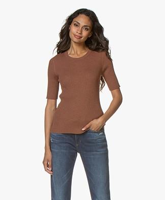 Repeat Half Sleeve Cotton Blend Rib Pullover - Chestnut