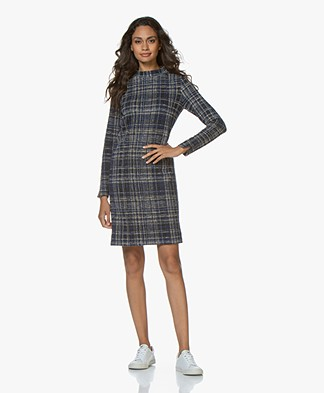 Josephine & Co Guillaume Checkered Jersey Dress - Navy