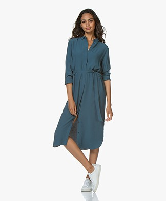 by-bar Jonna Viscose Midi Shirt Dress - Oil Blue