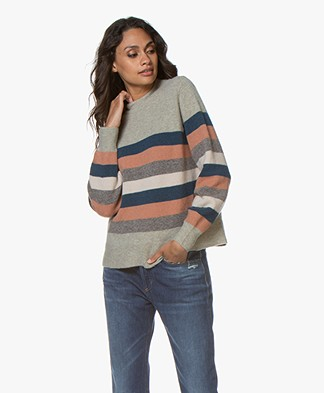 indi & cold Striped Wool Blend Sweater - Hielo