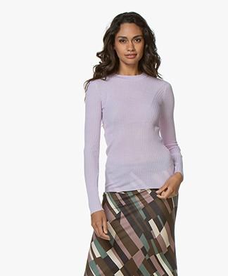 Joseph Rib Knitted Wool Longsleeve - Lilac