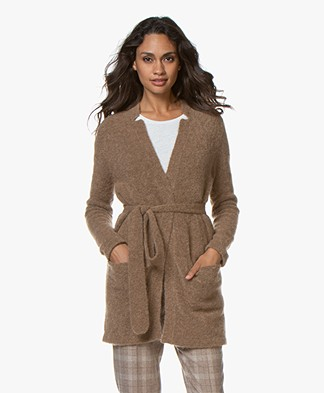 no man's land Mohair Cardigan with Tie Belt - Sandelwood