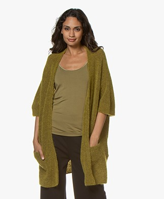 no man's land Mohair Blend Cardigan with Elbow-length Sleeves - Matcha