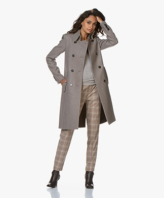 Drykorn Buckey Knee-length Wool Blend Coat - Taupe Melange