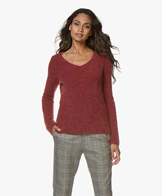 no man's land V-neck Sweater with Mohair - Carmine