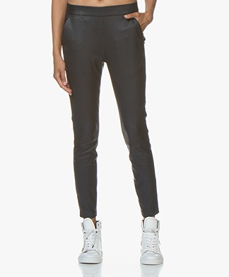 Woman by Earn Agnes Leather Slim-fit Pants - Navy