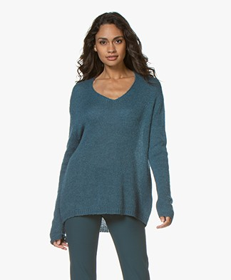 indi & cold Alpaca Blend V-neck Sweater - Jade