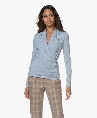 Belluna Benjamin Modal Wrap Long Sleeve - Light Blue