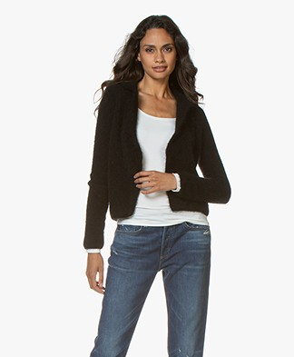 no man's land Mohair Blend Blazer Cardigan - Black