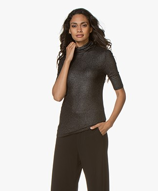 Majestic Filatures Lurex Turtleneck T-shirt with Half-length Sleeves - Metal/Black
