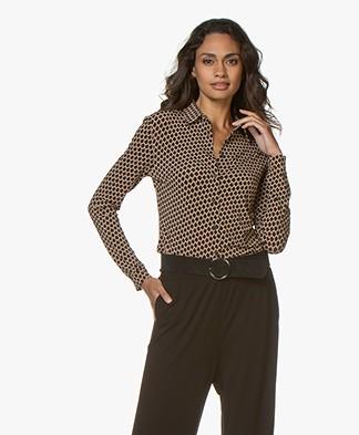 SIYU Salina Tech Jersey Print Blouse - Camel/Black/Off-white
