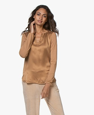Josephine & Co Gill Silk Front Blouse - Camel
