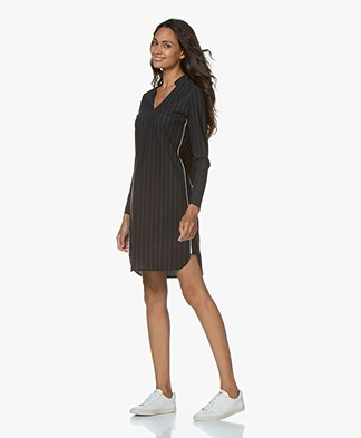 Josephine & Co Gunda Pinstripe Travel Jersey Dress - Navy