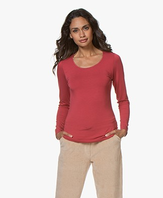 no man's land Viscose Long Sleeve - Carmine