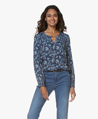 indi & cold A-line Print Blouse - Azul
