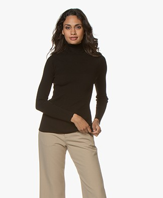 no man's land Pure Wool Rib Turtleneck - Black