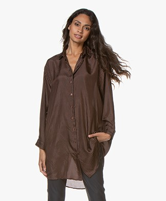 Mes Demoiselles Colorado Striped Silk Tunic - Dark Brown