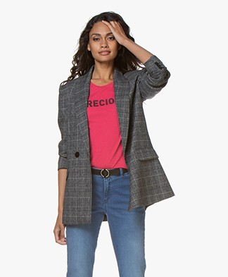 Repeat Checkered Boyfriend Blazer - Grey/Blue