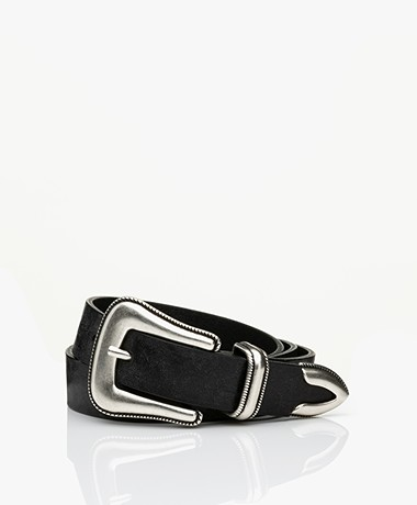 ba&sh Blake Leather Western Belt - Black