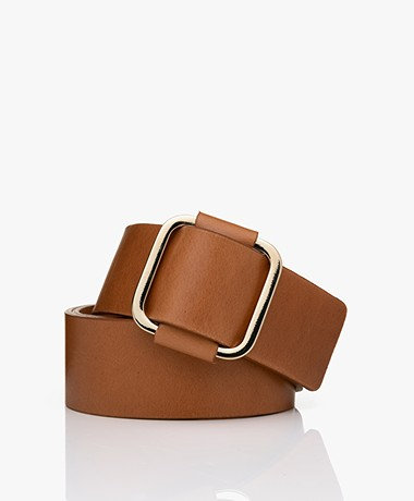 ba&sh Boxane Leather Belt - Camel