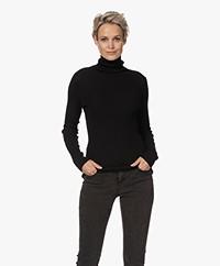 no man's land Wool Rib Knitted Turtleneck Sweater - Core Black