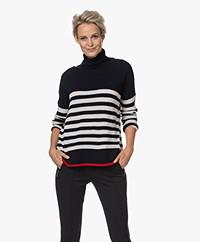 Majestic Filatures Striped Cashmere Blend Turtleneck Sweater - Marine/Ecru