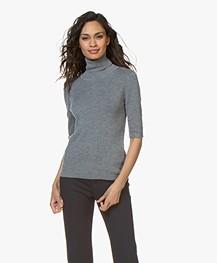Filippa K Merino Elbow Sleeve Sweater - Mid Grey Melange