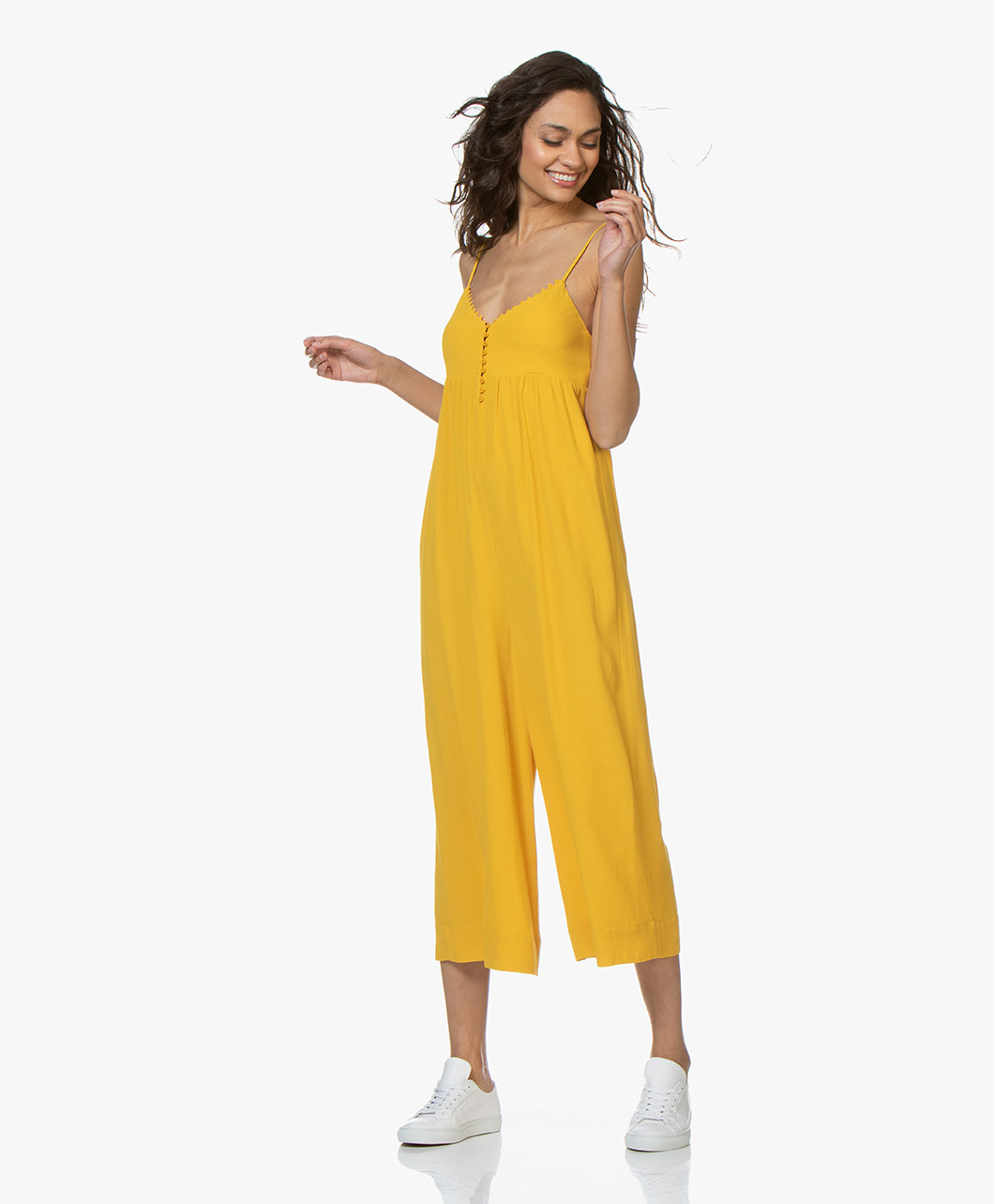 Amber Marie Goetz ba&sh fever sleeveless cropped jumpsuit - yellow amber