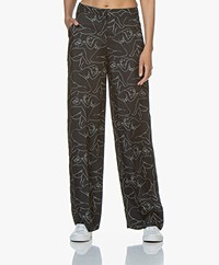 By Malene Birger Wide-leg Pants with Print - Black
