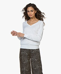 Repeat Cotton Blend V-neck Pullover - White