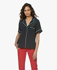 Marie Sixtine Dabe Two-tone Blouse - Prusse