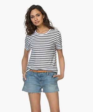 Denham Naval Gestreept Linnen T-shirt - Navy/Wit
