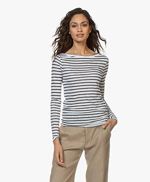 Denham Shelter Striped Linen Long Sleeve - Navy/White