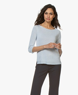 no man's land Lurex Cropped Sleeve Pullover - Sky