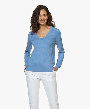 Repeat Cotton Blend V-neck Pullover - Blue Jeans