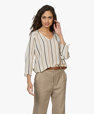 Pomandère Voile Blouse with Stripes - Milky White
