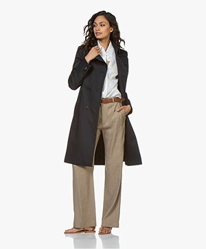 Drykorn Buckey Half Long Trench Coat - Navy
