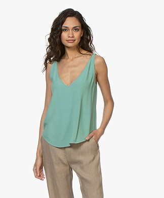 ba&sh Figue Reversible Crêpe Top - Watercolor Green