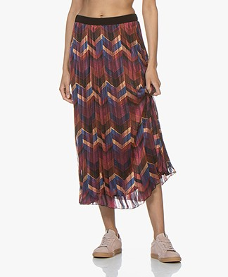 ba&sh Paolo Plissé Midi Rok - Bordeaux Multicolored