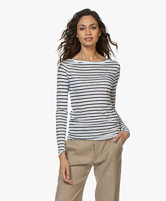 Denham Shelter Striped Linen Long Sleeve - Navy/White