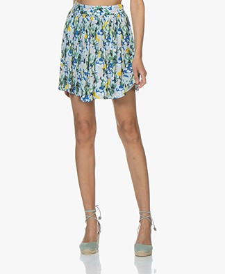 Denham Twist Camo Print Mini Skirt - Indigo