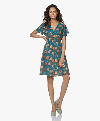 Drykorn Deliah A-line Floral Dress - Petrol Blue