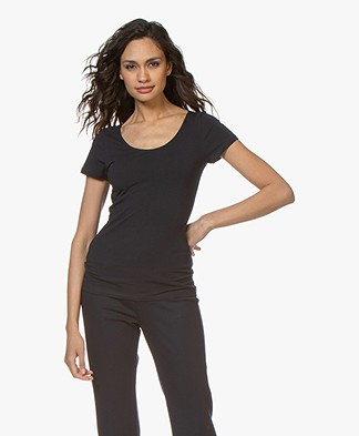 Filippa K Cotton Stretch Scoop Neck T-shirt - Navy