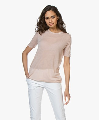 Joseph Cashair T-shirt in Puur Cashmere - Oyster