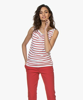 no man's land Striped Top with Draped Neckline - Red