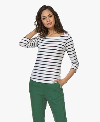 no man's land Striped Cropped Sleeve T-Shirt - Dark Sapphire