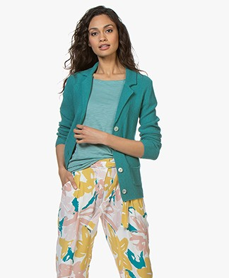 Belluna Eleven Pique Knitted Blazer - Ocean Green