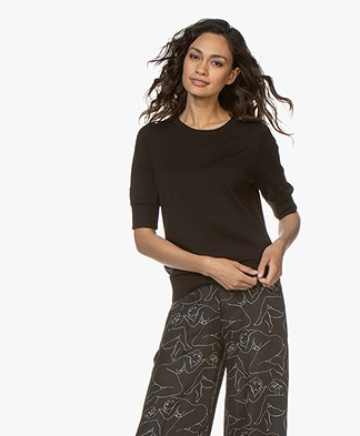 Repeat Cotton Blend Mid Sleeve Sweater - Black