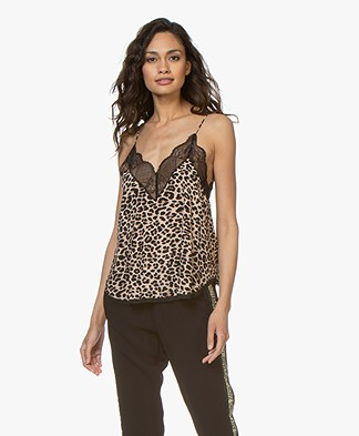 Zadig & Voltaire Christy Viscose Luipaard Camisole - Naturel