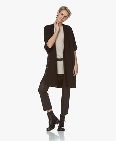 Repeat Open Short Sleeve Cardigan - Black